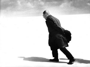 Sartre walking away