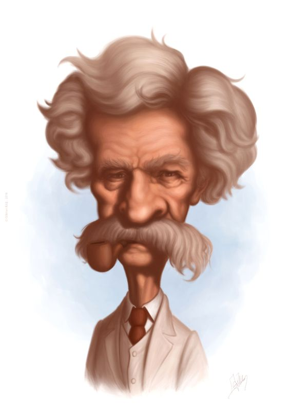 Mark Twain caricature by Gohkan Bas