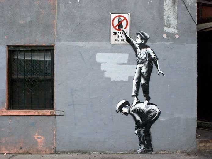 Grafitti is a Crime stencil painting by Banksy
